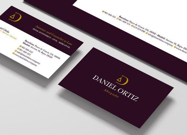 Diseño de logotipo y papelería para Daniel Ortiz, un abogado penalista con despacho en Madrid y Barcelona que buscaba una imagen elegante y minimalista.