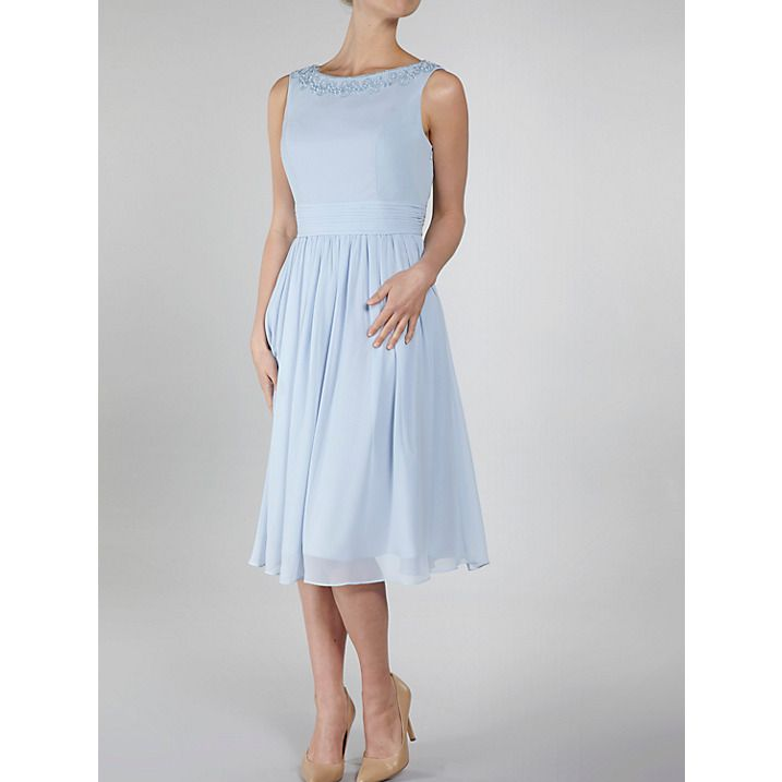 Buy Gina Bacconi Chiffon Beaded Neckline Dress, Blue, 8 Online at johnlewis.com