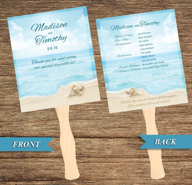 BCH 03 Fan and Wedding Program Beach Shell