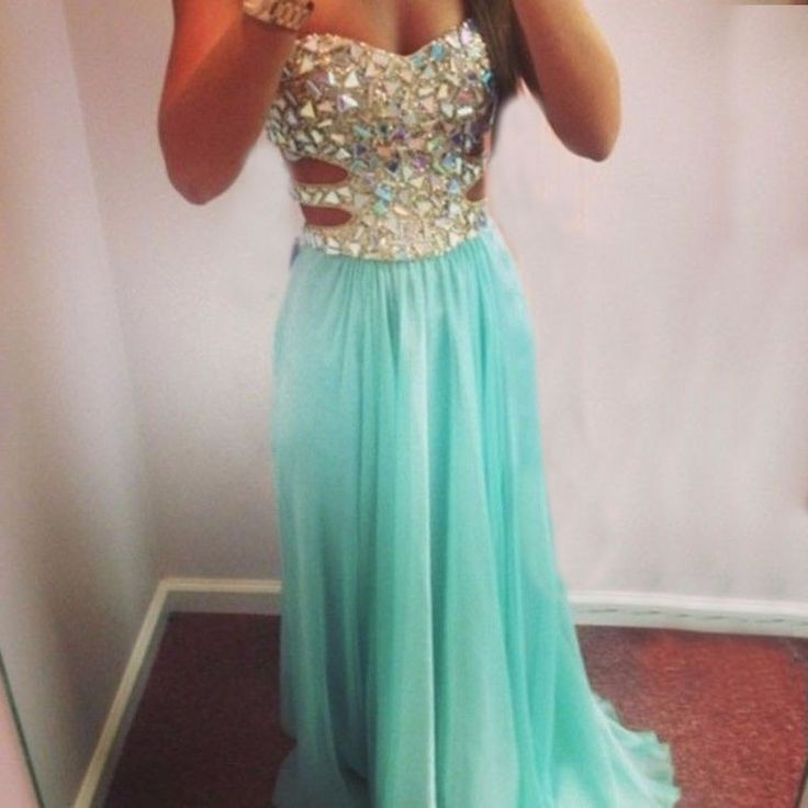 Bling Crystal Party Dress Sexy Sweetheart Long Chiffon Turquoise Blue Prom Dresses
