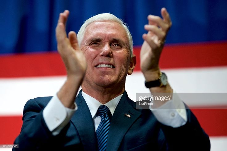 Mike Pence, Vice-presidential candidate for the Republican Party is seen on stage in Bensalem, PA, as he makes a campaign stop in the Philadelphia Suburbs, in the last two weeks before the November 8, 2016 General Elections for President of the United States, on October, 28, 2016.