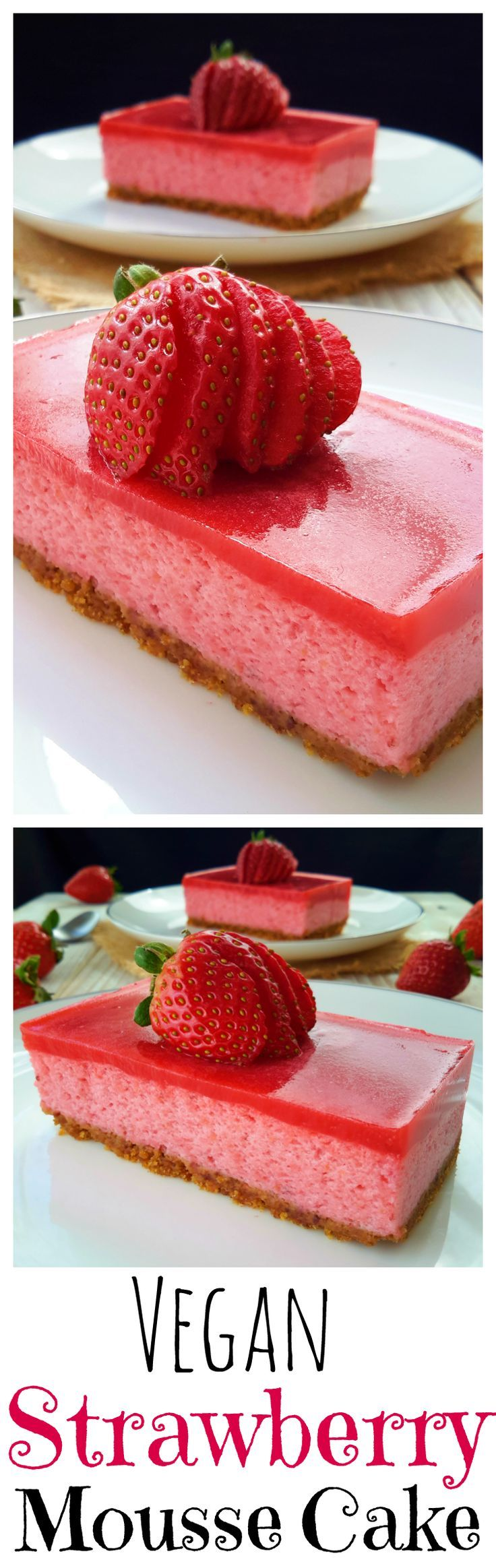 Vegan strawberry mousse cake with strawberry jelly. Made with aquafaba and coconut cream for the perfect balance of creaminess and airiness.