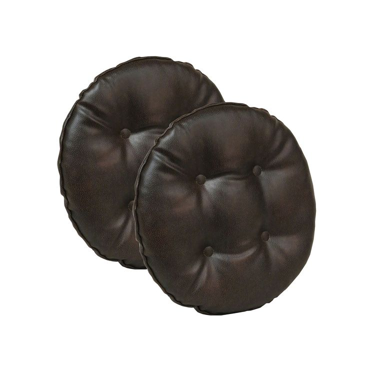 The Gripper 2-pc. Faux Leather Bar Stool Cushion Set, Dark Brown