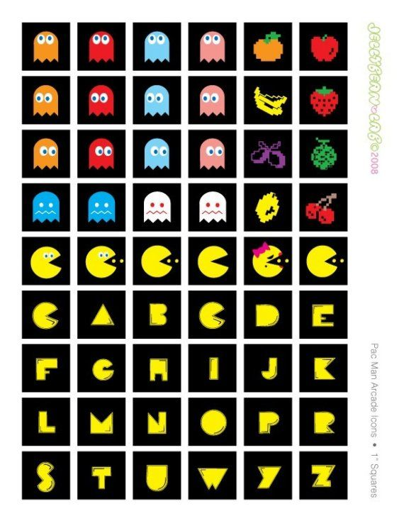 PAC MAN arcade icons and alphabet 1 inch Square Tile Printable Digital Collage Sheet