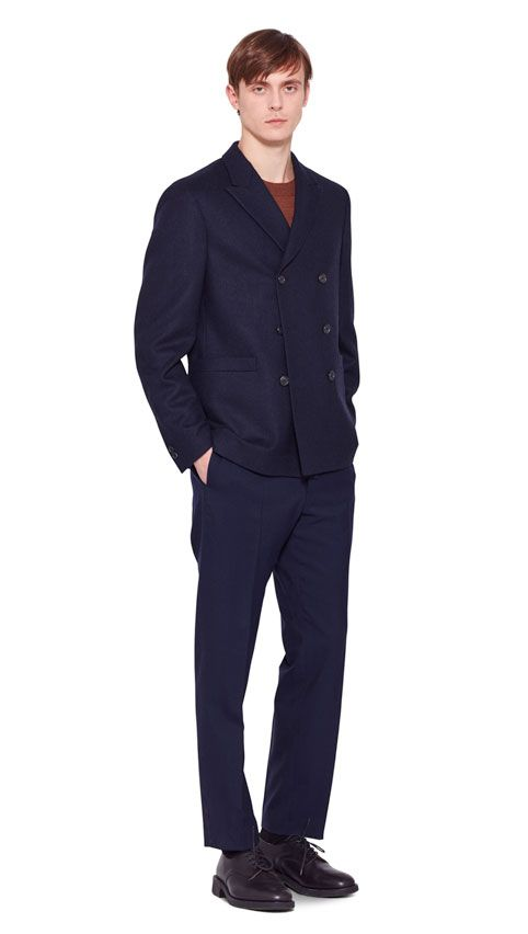 AUTUMN WINTER 2016 COLLECTION -   DARK NAVY HEAVY FLANNEL SOFT DB JACKET,  TOBACCO MERINO WOOL WIDE CREW NECK,  NAVY WASHED WOOL DRILL SOFT NARROW TROUSER,  BLACK MATT LEATHER CREPE SOLE DERBY