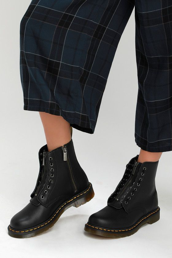 1460 Pascal Black Nappa Leather Front Zip Boots in 2020