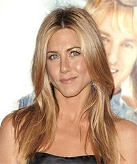 Jennifer Aniston Long Straight Casual Hairstyle – Copper Blonde Hair Color