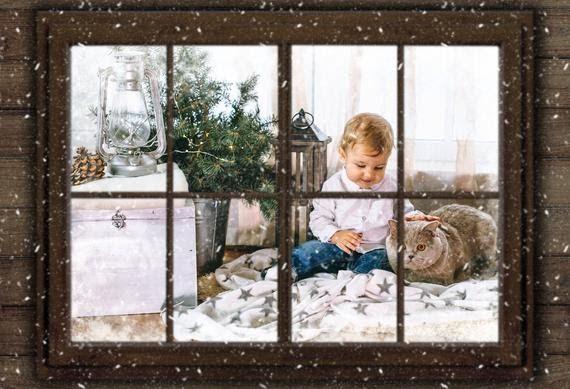 Christmas Window Photo Overlay Template Png Photoshop Christmas Card Template For Photographers Photoshop Christmas Card Template Snowy Window Christmas Window