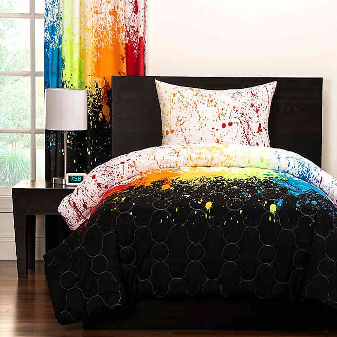 Crayola Cosmic Burst Reversible Comforter Set In Black