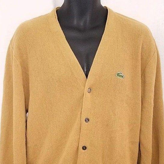 IZOD Lacoste Mens Cardigan Sweater Vtg 60s Made In USA Mustard Brown Size Large #IzodLacoste #Cardigan
