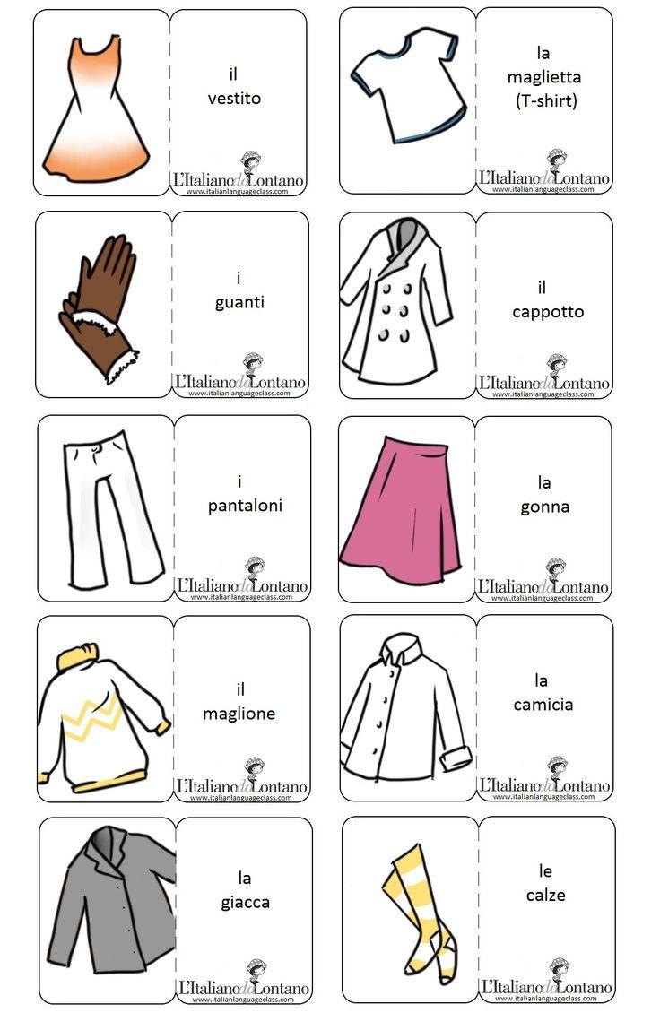 Vocabolario sull'abbigliamento.