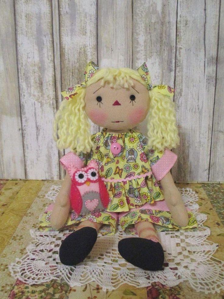 Primitive Raggedy Ann yellow owl clothes stitch face yellow hair felt owl decor #NaivePrimitive #BusybeeDollsbyKathy