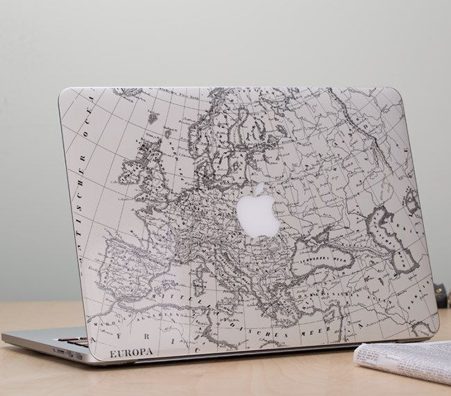 The map decal depicts Europe and some of Northern Africa, which adds a cool travel feel to your laptop. The decal seems to almost blend in with the laptop without being overly showy, but still adding a unique touch. #travel #tech