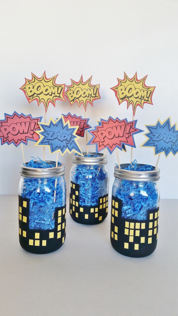 SuperHero Party Centerpieces, Boys Birthday Decor, Batman Superman and Spiderman Mason Jar Centerpieces, Superhero In Training Baby Shower by LilLoveBugsCreations on Etsy https://www.etsy.com/listing/257619303/superhero-party-centerpieces-boys