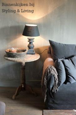 Lampenkap - kleur French Linen met Graphite | - Annie Sloan, voorbeeld | Styling & Living