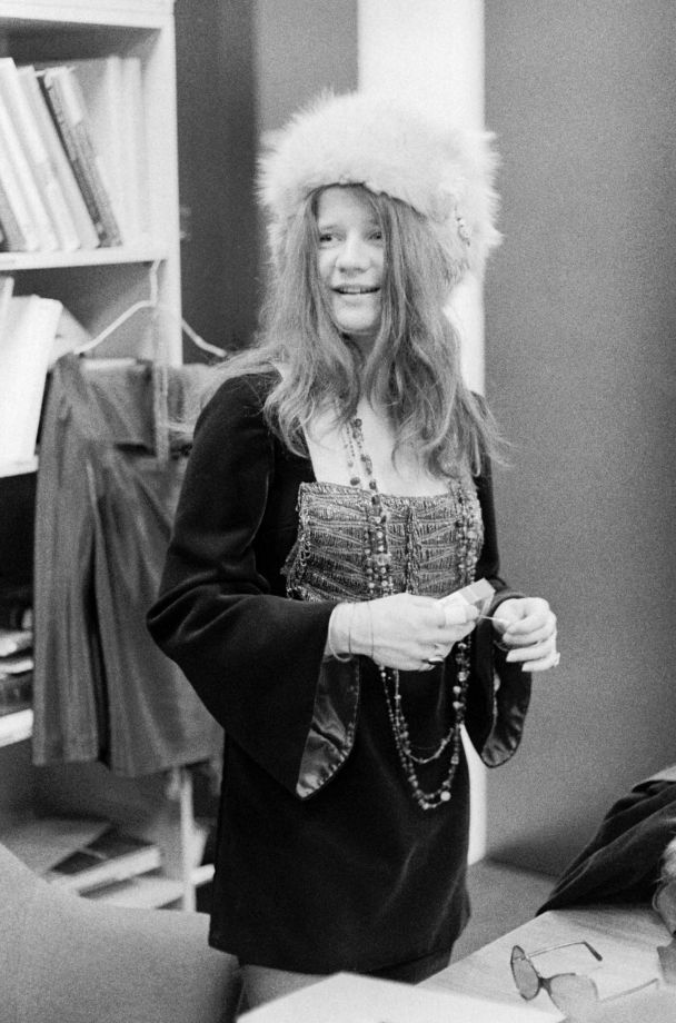 Janis Joplin standing in a fur hat at the office of Columbia Records in New York, NY on February 19, 1968. Photo: John Byrne Cooke / ONLINE_CHECK