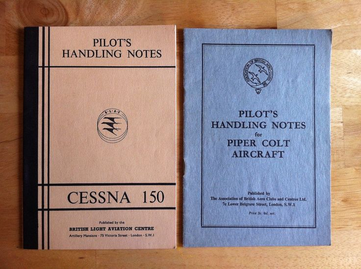 Two Vintage Booklets - Pilot's Handling Notes.  One for Piper Colt Aircraft and One for Cessna 150 by OurGrannysAttic on Etsy