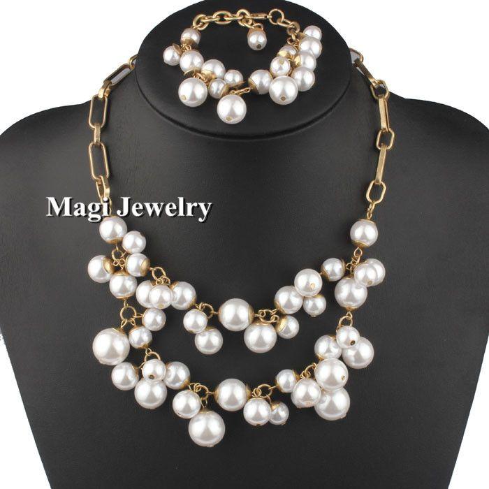 Vivilady мода имитация жемчужные украшения устанавливает женщины ожерелье браслет нагрудник себе металлическая цепь ну вечеринку аксессуар