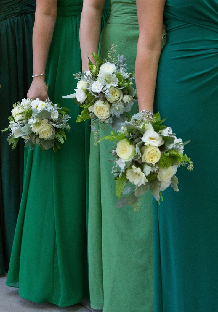 Rustic Redwood Wedding : Green bridesmaid dresses : Emerald : Clover : Kelly : Hunter : Bouquet of grays greens white and cream