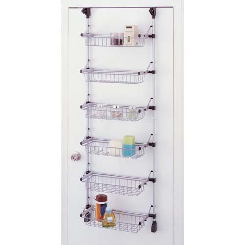 Pantry Storage Shelving Units Small Metal Shelving Unit: FOLDING OVER DOOR 6 BASKET METAL SHELVING UNIT