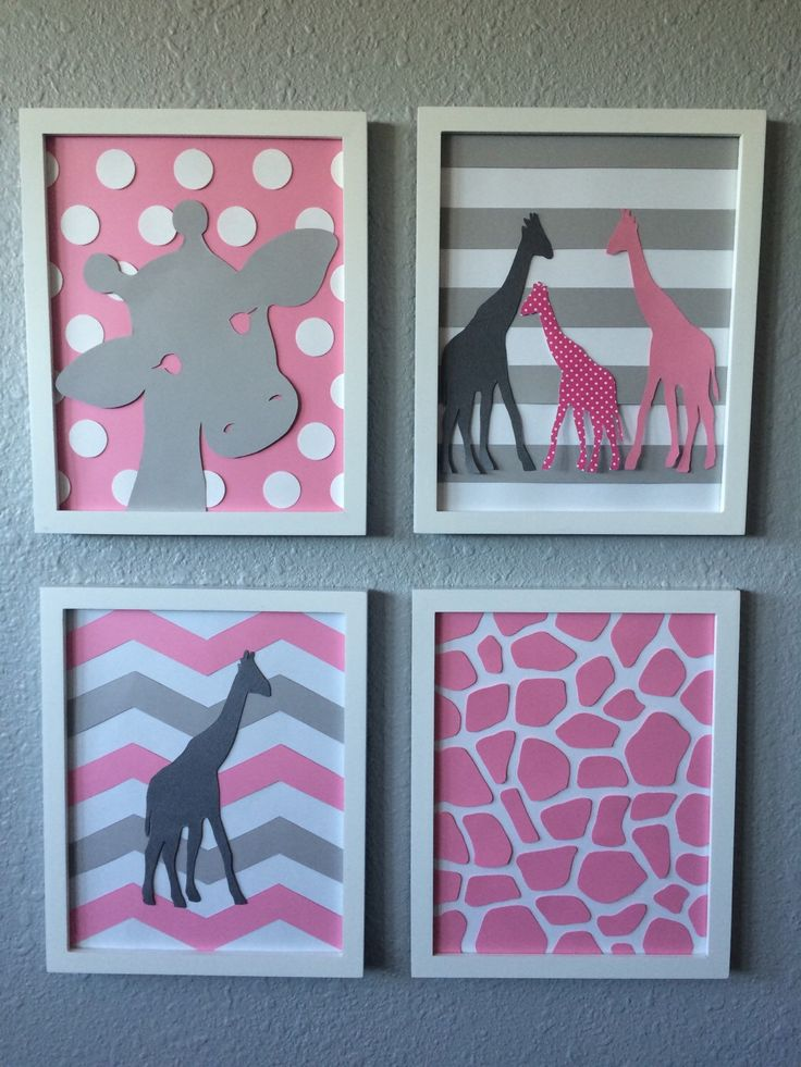 A personal favorite from my Etsy shop https://www.etsy.com/listing/255325537/giraffe-nursery-art-pink-grey-gray
