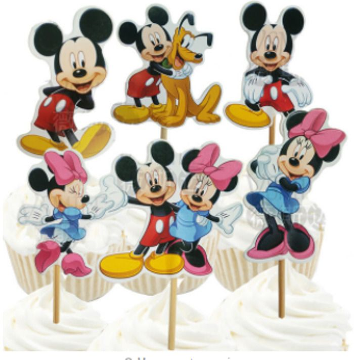 48pcs/lot New Mickey Minnie Cartoon Cupcake Cake Toppers Party Birthday Children #Unbranded #Party