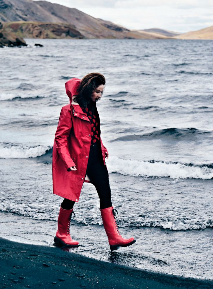 Red Ilse Jacobsen wellies shot on Iceland, with matching rain coat.