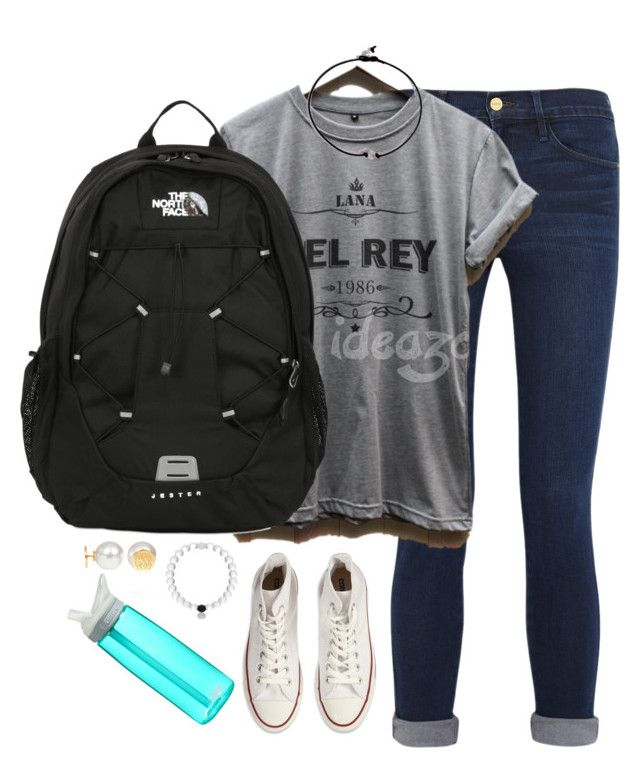 """What I'm wearing to school tomorrow✌️"" by kaley-ii ❤ liked on Polyvore featuring Frame Denim, Converse, The North Face, CamelBak and kaleyschoosets"