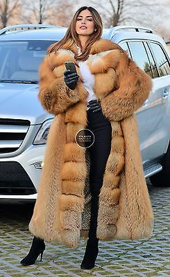 NEW 2017 GOLD FOX LONG FUR COAT CLAS CHINCHILLA SABLE MINK LYNX SILVER FIRE VEST