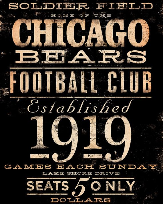 Chicago Bears Football club typography giclee by geministudio