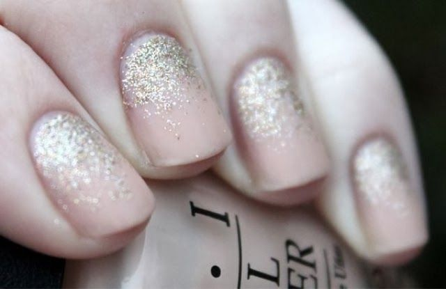 Holiday nails 2013... Blush with gold and silver flakes. Perfection for summer and fall    {Mani Monday} | A Fancy Affair