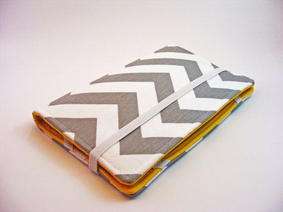 DIY tablet case with fabric, cardboard, and elastic