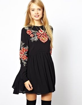 Image 1 of ASOS Smock Dress With Floral Embroidery