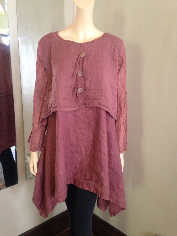 Lagenlook two piece tunic and topper ensemble; crafted in hand dyed linen and rustic cotton gauze. The bottom layer is a medium weight linen