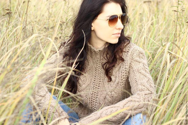 Купить Теплый свитер с рельефным узором - бежевый, толстый свитер, свитер скосами, объемный свитер