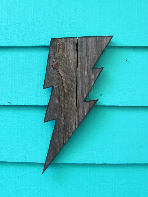 Lightning Bolt. Made of recycled wood wooden by JohnBirdsong