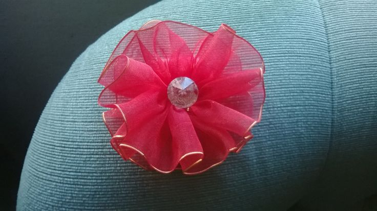 Made this rose flower - sifon red with gold line