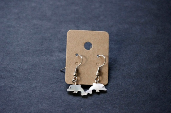 Mother of Pearl Dolphin Earrings by Cyclop on Etsy, $16.75