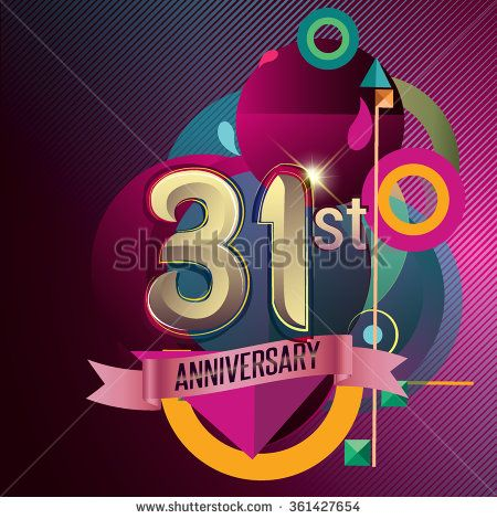 31st Anniversary, Party poster, party invitation - background geometric glowing element. Vector Illustration - stock vector