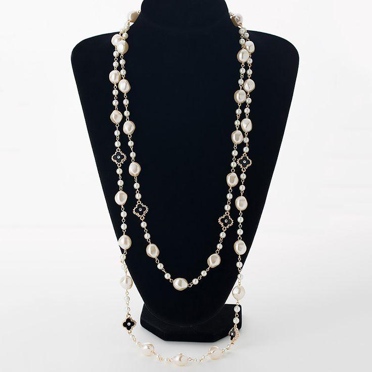 模擬真珠ロングネックレス女性のためのゴールドメッキチェーンラインストーン4葉のクローバーストランドビーズ女性セーターネックレス