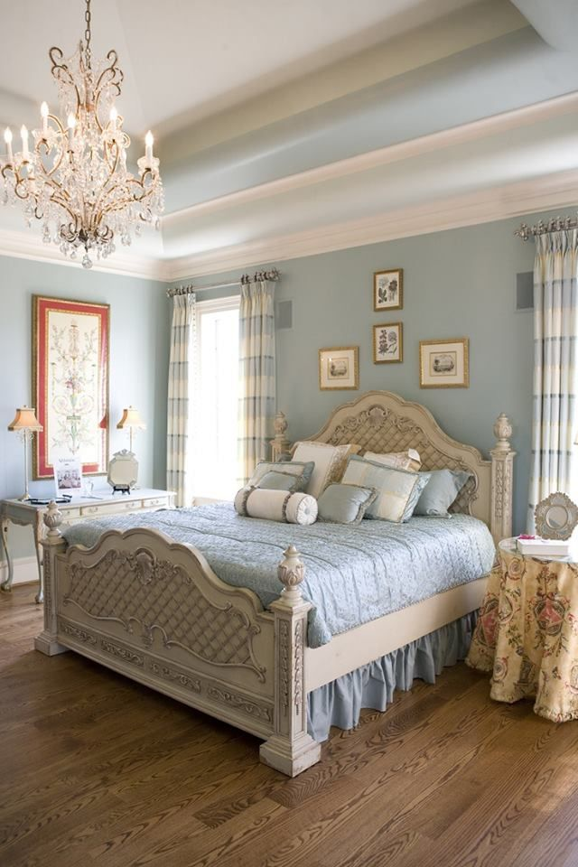 Beautiful blue and white with a chandelier!