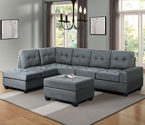 630f4b0ddb330 Harper   Bright Designs 3 Piece Sectional Sofa Microfiber with Reversible  Chaise Lounge Storage Ottoman and Cup Holders (Blue Grey)