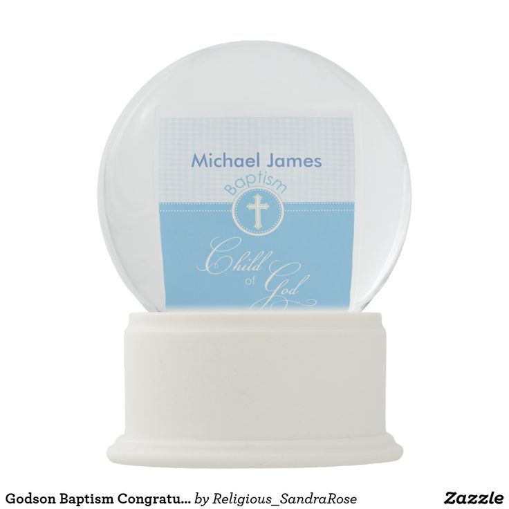 Godson Baptism Congratulations Gift Blue Child of Snow Globe