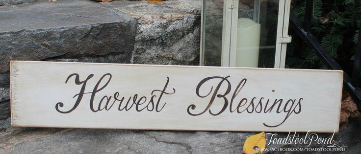 Harvest Blessings Handpainted Wooden Sign Thanksgiving Custom