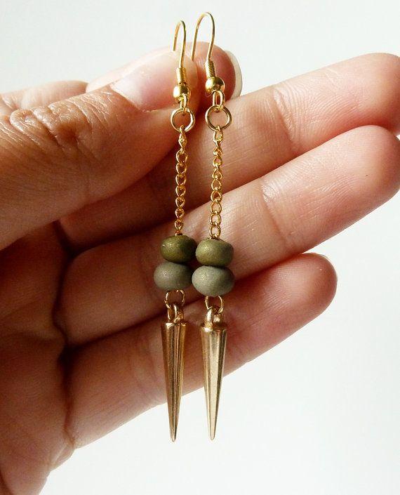 gold spike earrings #ammjewelry #gold #earrings #jewelry