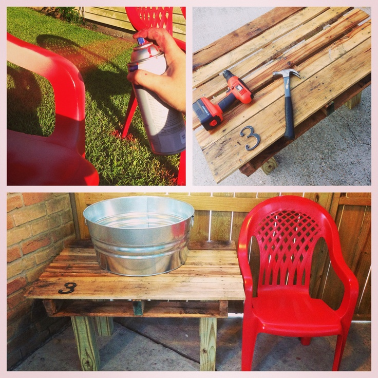 Up Cycled Outdoor Plastic Chairs And A Pallet With Posts And Spray Paint  From Home Part 62