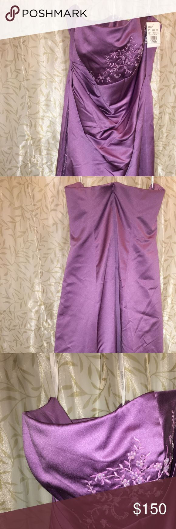 David bridal formal or bridesmaid gown This is a full length, never been worn formal or bridesmaid gown from davids bridal. The color is wisteria close to a light purple with cascading sequences. This dress has removable spaghetti straps & extra sequences in case any come close. Closure includes a full zipper back with eye hook & extra clasp hook in the inside. The bodice has a slight bone to shape the upper area. David's Bridal Dresses Wedding