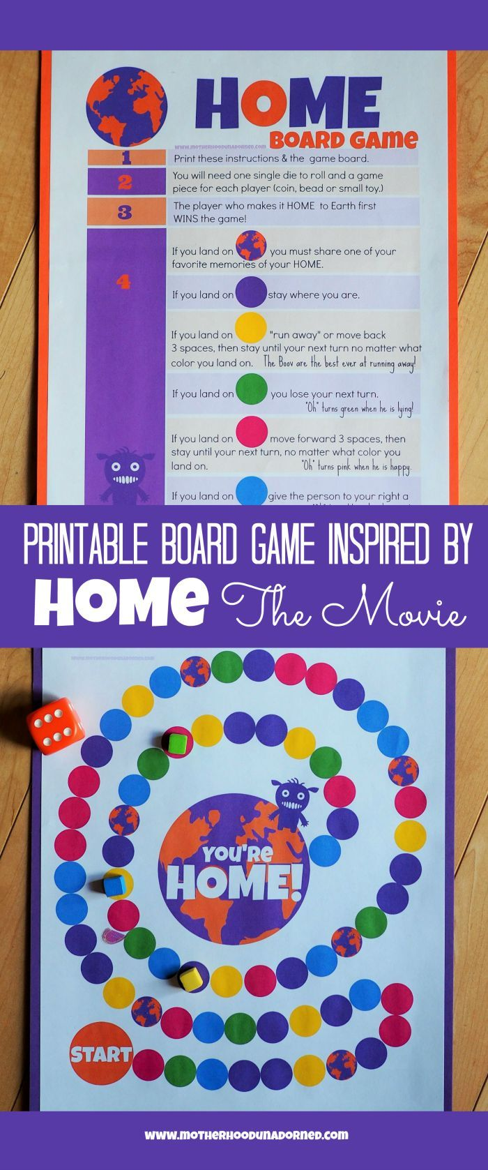 Free Printable Board Game inspired by DreamWorks Home, the movie. Fun kids activity. Review of HOME. Party /Play date Idea.