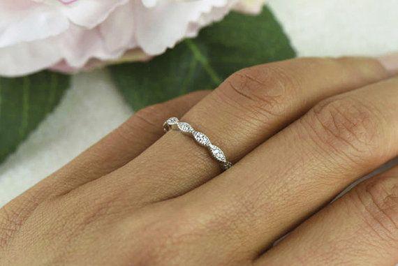 Art Deco Wedding Band 1.5mm Engagement Ring Thin by TigerGemstones