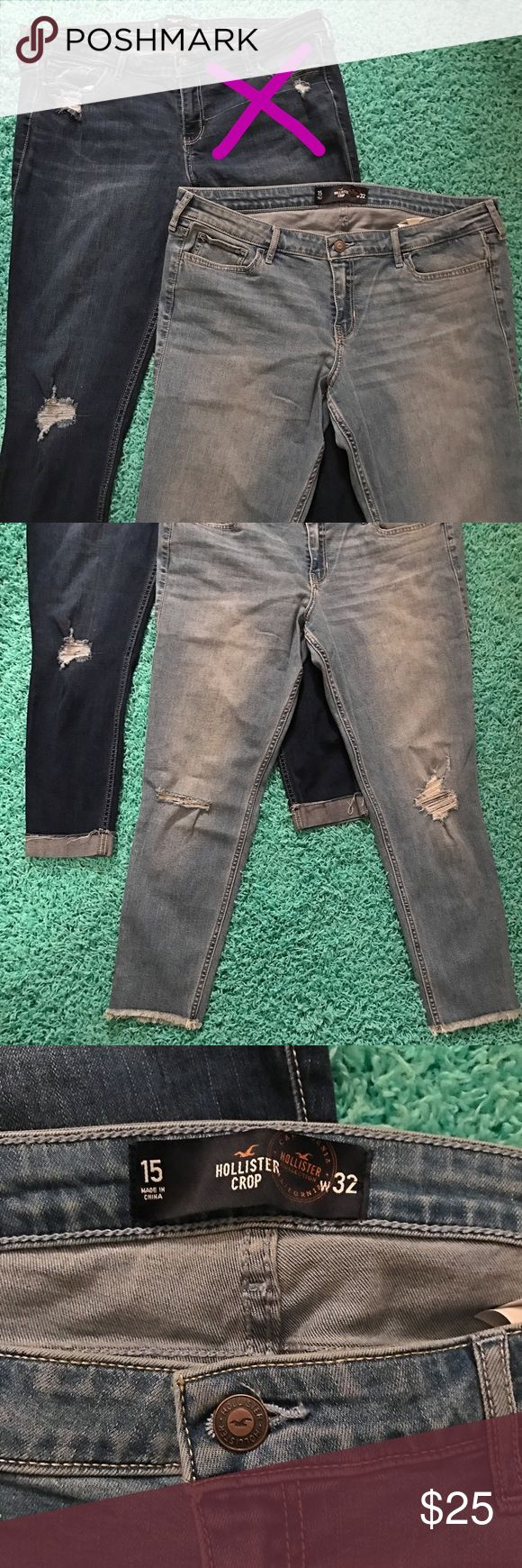 hollister™ crop skinny jeans. 💕 ➽ hollister™ crop skinny jeans. ➽ women's size 15 (w 32). ➽ color: light washed. ➽ low rise, crop, skinny. ➽ NWOT, NEVER BEEN WORN. ➽ perfect condition, 10/10. Hollister Jeans Skinny